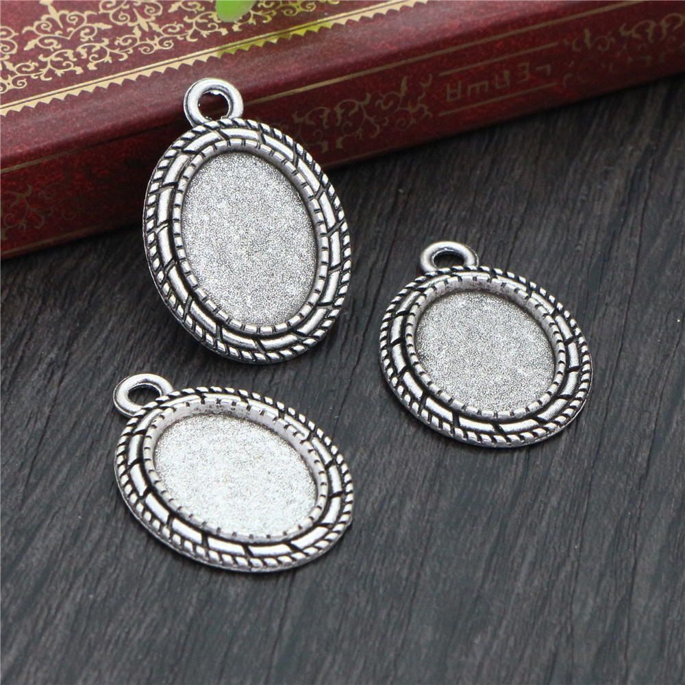 8pcs 13x18mm Inner Size Antique Silver Simple Style Cameo Cabochon Base Setting Charms Pendant Necklace Findings  (D4-29)