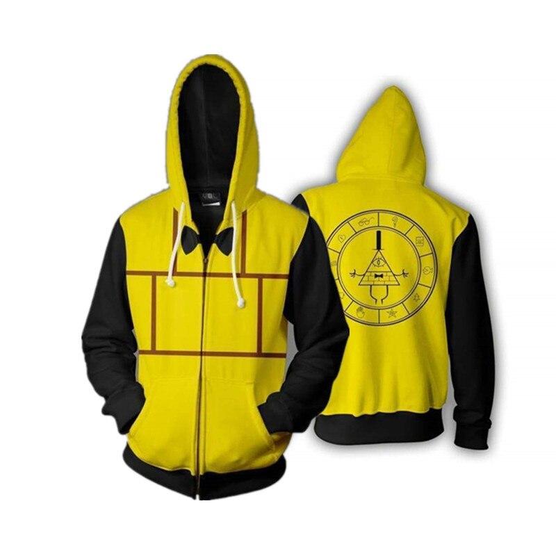 Gravity Falls Cosplay Hoodie Sweatshirt Bill Cipher 3D Hoodies Men Casual Zipper Hoodies
