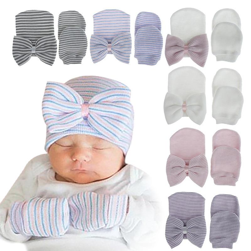 Big Bow Newborn Beanie Baby Hat for Girls Boys Spring Autumn Winter Baby Cap Soft Infant Bonnet Hat Gloves Set 10 Colors