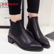 2019 New Western Boots Cowboy Women Shoes Fall Chelsea Pointed Toe Black Leather Ankle Platform Woman