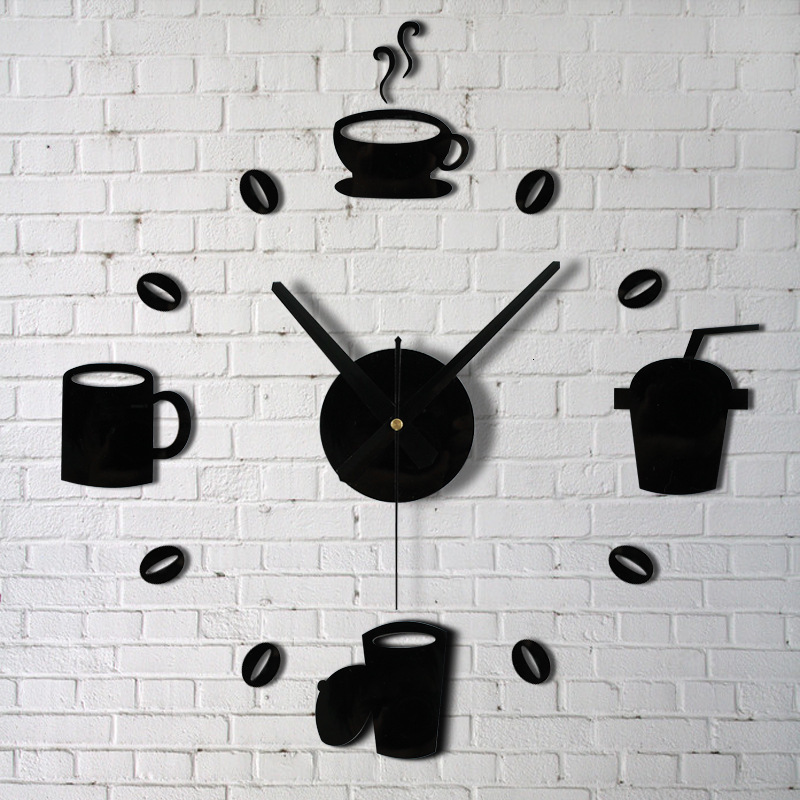 A Living Room Wall Clock Coffee Cup Kitchen Restaurant Diy Clock Originality Modern Concise Wall Stickers Clocks And Watches