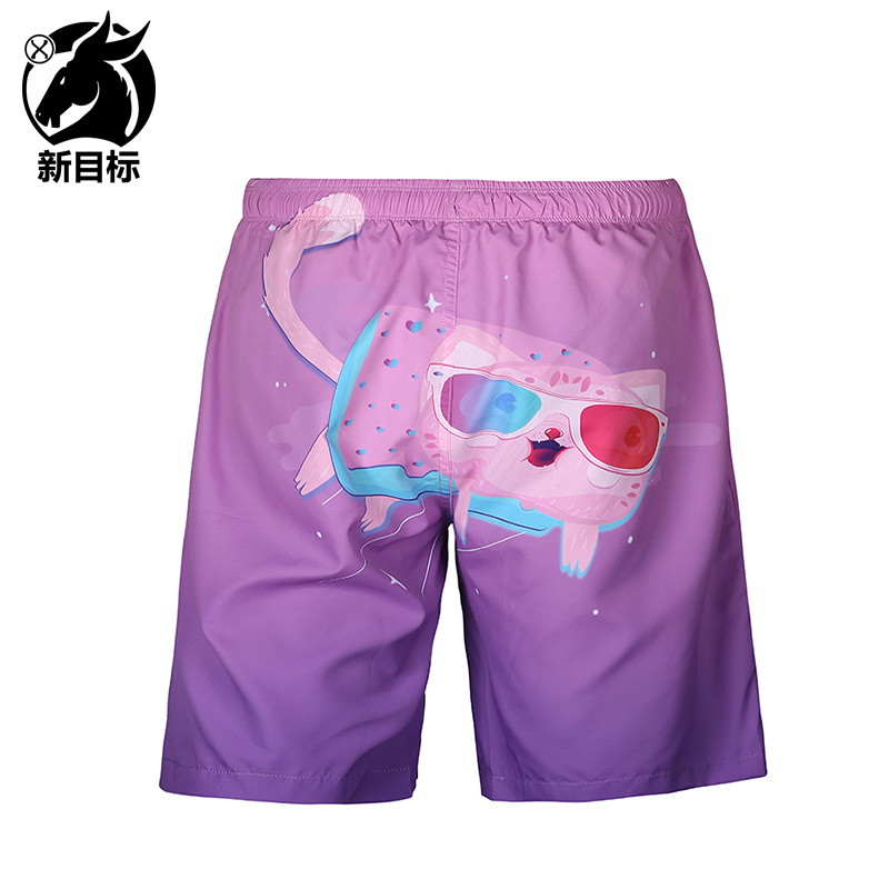 Foreign Trade 2019 Summer New Style MEN'S Swimming Trunks Cartoon Meow Star People 3D Printed Beach Shorts Popular Brand Casual