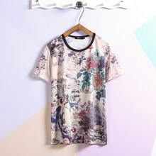 Manga curta camisa de seda t men' 2021 verão chinês dragão impressão preto tshirt topo t hip hop punk rock roupas moda oversize