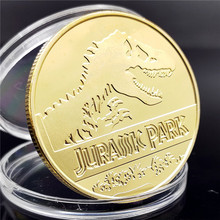 New Arrive Jurassic Park Dinosaur Commemorative Coin Gold Silver Plated Coins Collection Birthday Christmas Business Gifts