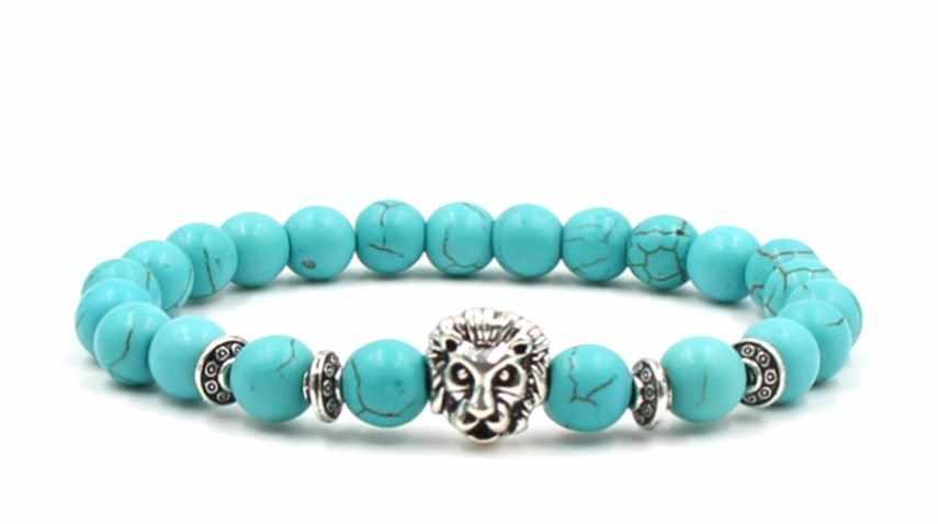 8mm xg53 cabeça de leão pulseiras turquesa buda oração yoga pulseira mulheres natureza pedra festa casamento jóias