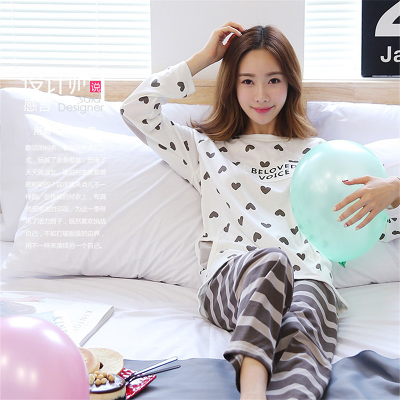 Spring And Summer Days Long Sleeve Pajamas Women's Autumn Korean-style Thin Fashion Brown Striped Pants Peach Heart GIRL'S Homew