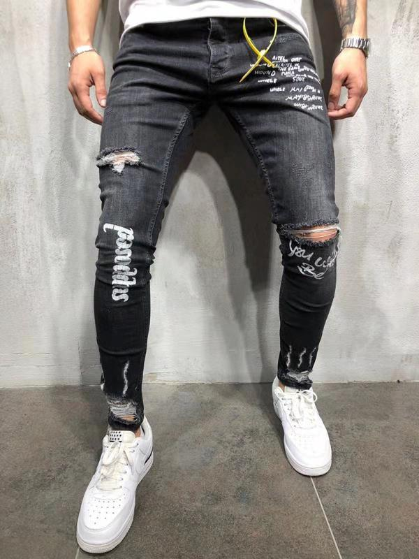Europe And America Autumn New Style MEN'S Jeans Elasticity With Holes English Printed Gray Skinny Pants
