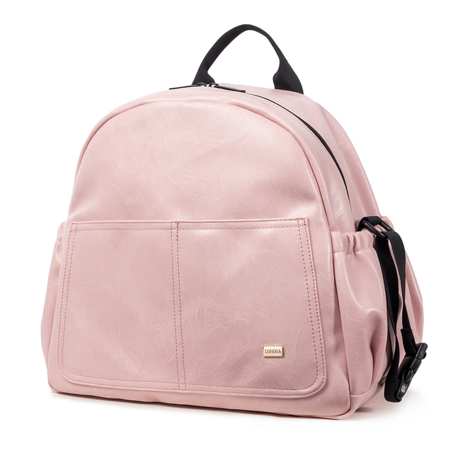 New Fashion Diaper Bag for Mother Pink Large Capacity Solid Baby Bag Backpack with 2 Straps Stylish Maternity Nappy Changing Bag