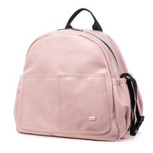 Nova moda saco de fraldas para mãe rosa grande capacidade sólida saco do bebê mochila com 2 correias à moda maternidade fralda mudando saco
