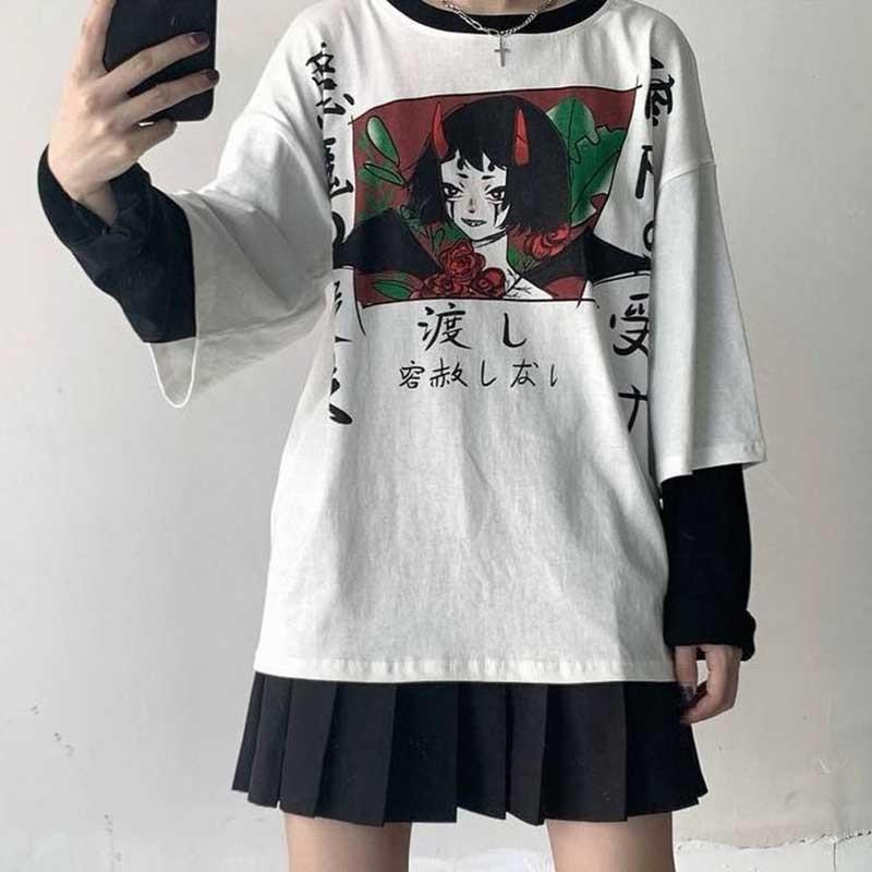 Harajuku Red Horn Devil Woman T Shirt 2