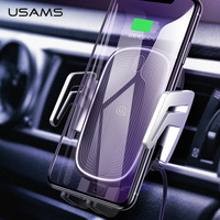 USAMS Luxury Magnetic Car Phone Holder Wireless Charger Car Air Vent Holder 10W Fast Charge car holder for iPhone Samsung Huawei Xiaomi