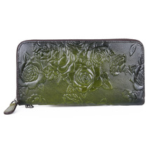 Ladies wallet designer retro style ladies clutch bag fashion multi-card embossed color leather long