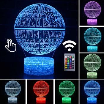 Star Wars Darth Vader Anime Figure Acrylic 3D Illusion LED Lamp Colourful NightLight Death Star Mask Yoda Model Toys Child Gift 10