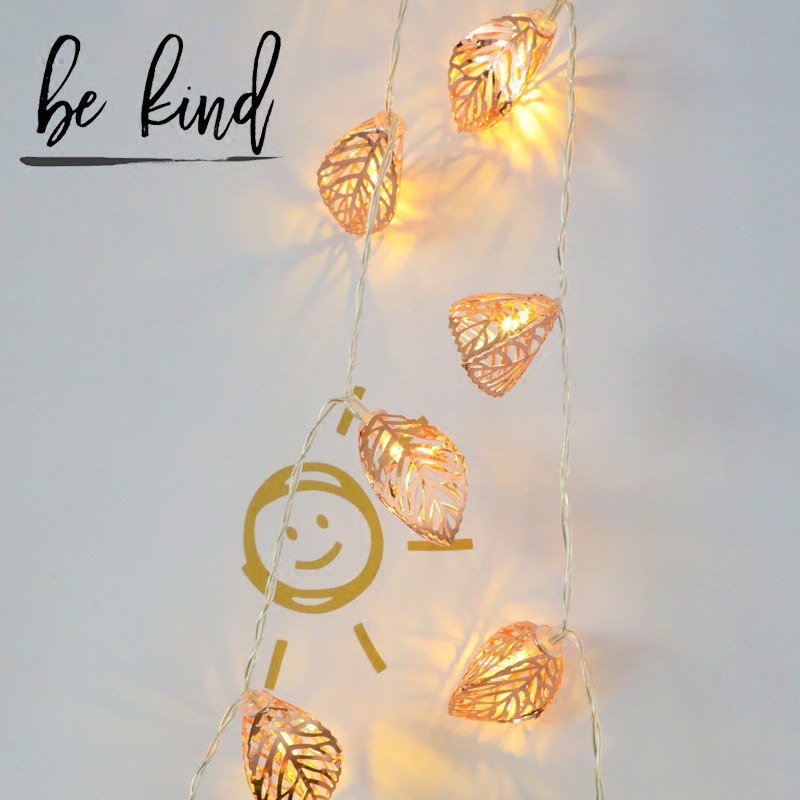 Rose Golden Leaf LED Colored Lamp Flashing Light String Lights INS Creative Room Decorative String Lights Online Celebrity Bedro|Lighting Strings| |  - title=