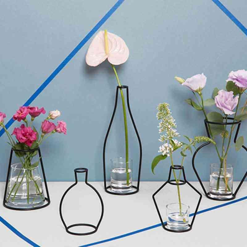 Creative แจกันดอกไม้แห้งเครื่องประดับชั้นวาง Soilless แจกันเหล็ก Planter Rack หม้อ Organizer อุปกรณ์ตกแต่งบ้านโมเดิร์น
