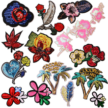 Cherry blossom Rose Sequin icon Embroider Iron on Patch for Clothing DIY Stripes Clothes