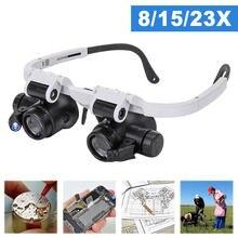 8x/15x/23x led lupa óculos duas luzes led ajustável led lâmpada cabeça lupa ferramentas do agregado familiar