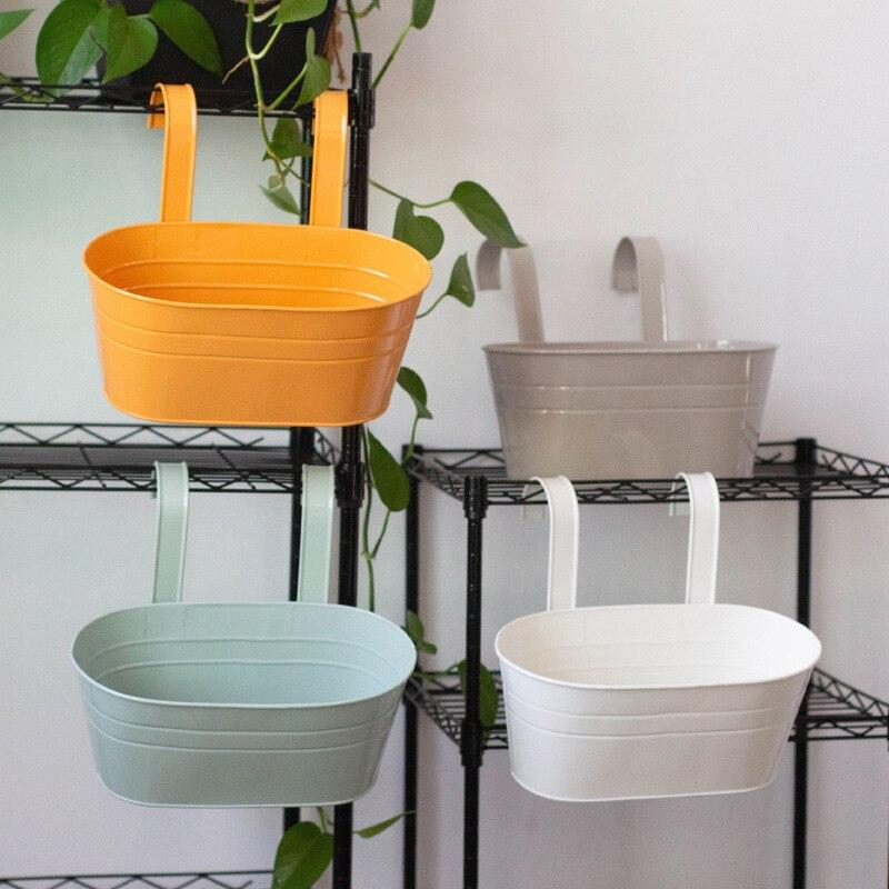 Maceta Oval de Metal con doble gancho para flores, cesta de hierro para suculentas, maceta, cubo para el hogar, jardín, maceta colgante, decoración del hogar