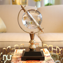 Crystal Glass Globe Stand Paperweight for Office Desk Decor Gold Miniature Model Home Decorations Figurines