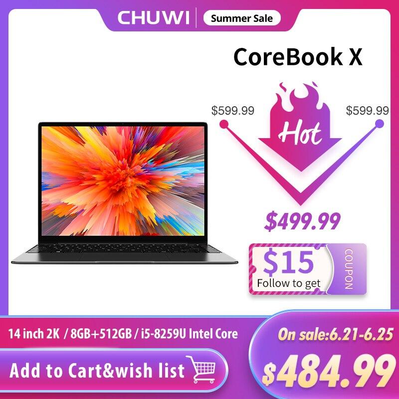 CHUWI CoreBook х 14 дюймов ноутбук 2160*1440 Разрешение Intel Core i5-8259U 4 ядра 8 Гб Оперативная память 512GB SSD Windows 10 клавиатура с подсветкой