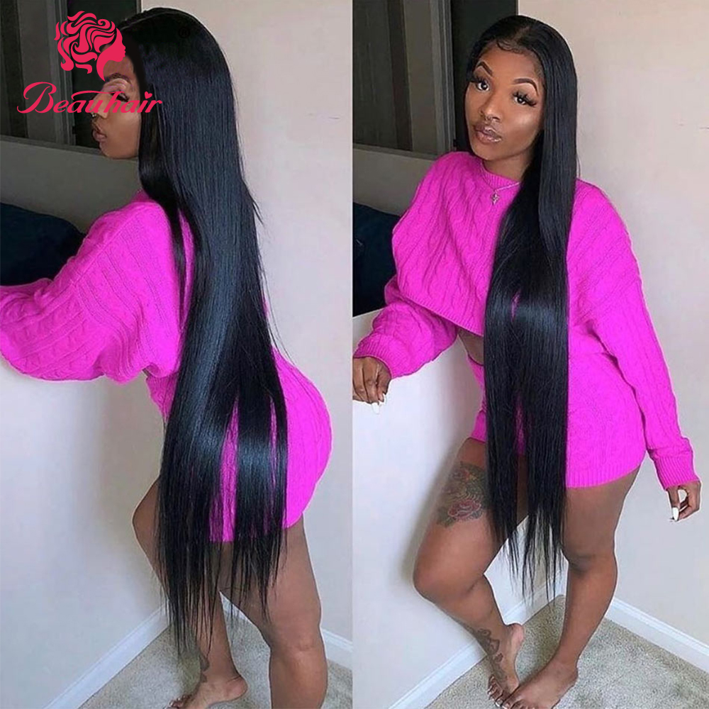 Beauhair Lace Frontal With Bundles Non-Remy Brazilian Straight Human Hair Bundles With Lace Closure Pre Plucked With Baby Hair