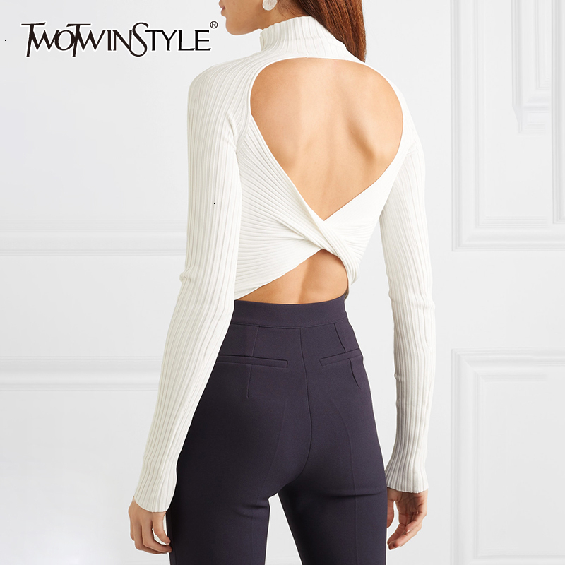 TWOTWINSTYLE White Backless Sexy Party Women's Sweater Turtleneck Long Sleeve Female Pullovers Autumn Clothing Fashion New 2019
