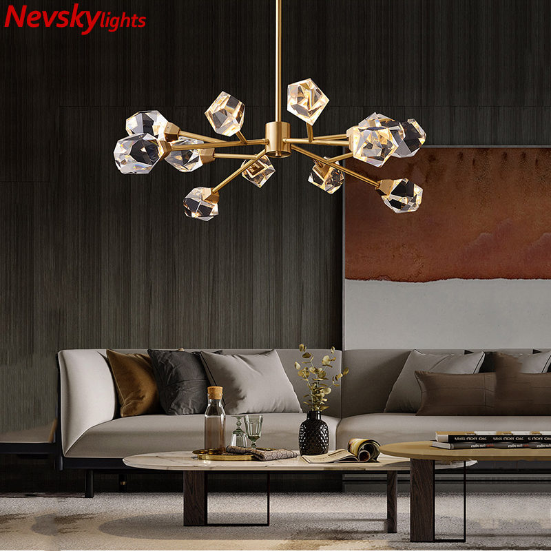 luxury ceiling crystal chandelier living room brass chandelier lighting dining gold led lustre kitchen fixture lighting bedroom
