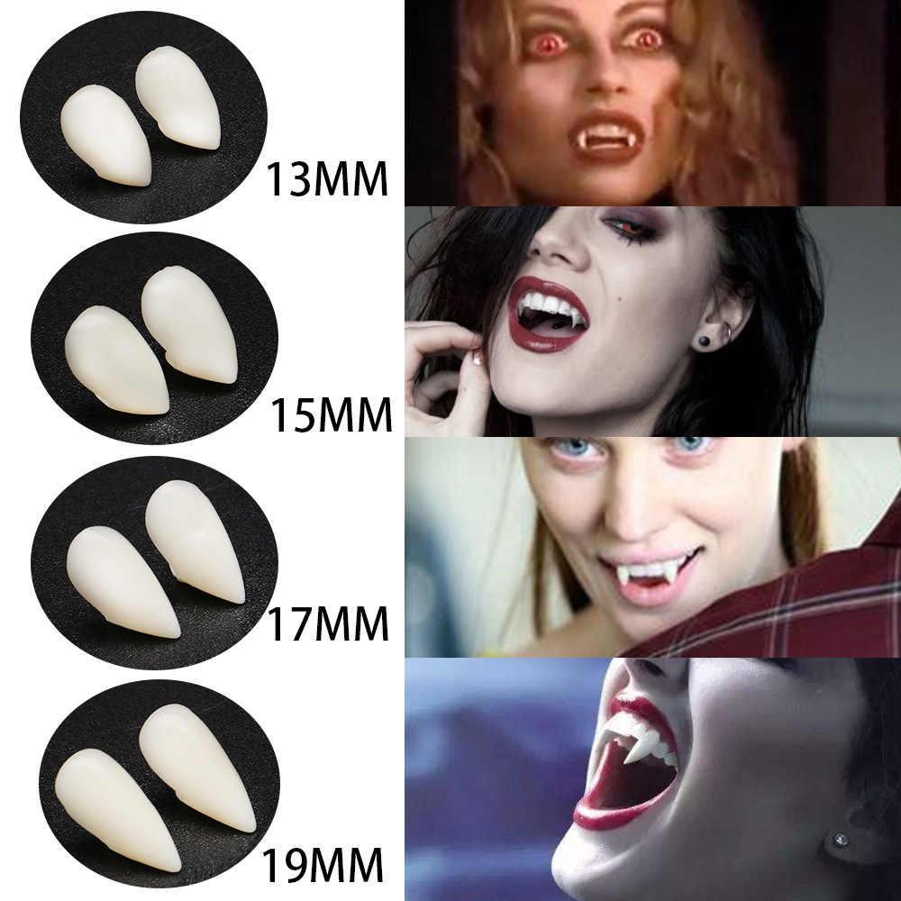 4 Ukuran Gigi Vampir Taring Gigi Palsu Alat Peraga Kostum Halloween Alat Peraga Pesta Liburan DIY Dekorasi Horor Orang Dewasa untuk Anak-anak
