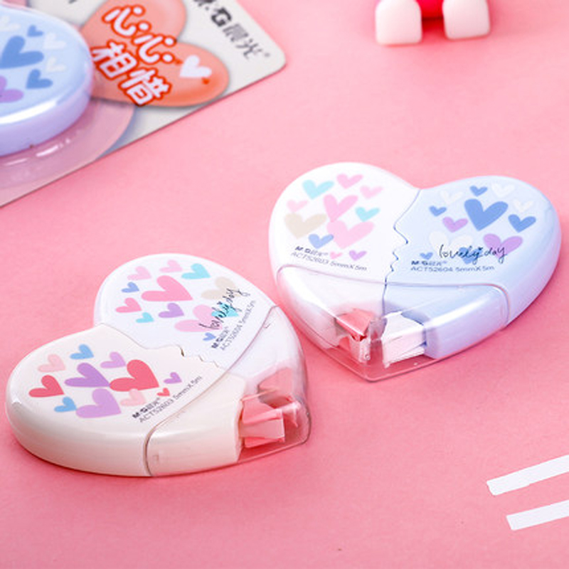 2 Pcs/pair Kawaii Love Heart Correction Tape Material Escolar School Student Cute Correction Tapes Stationery Papelaria10*5m