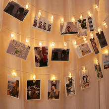 String Lights Photo-Holder Party-Decoration Fairy-Garland-Lights Led-Clip Bright-Card