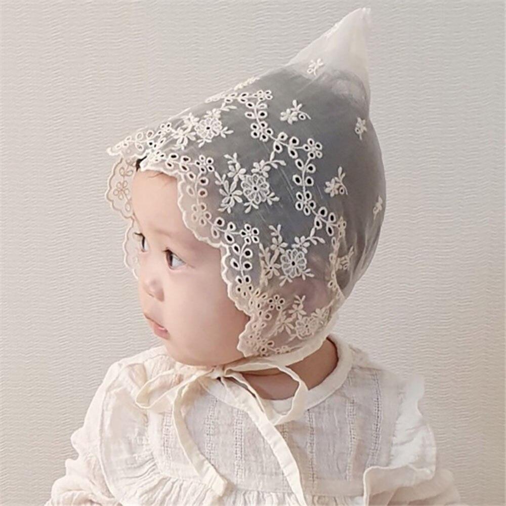 Кружевные шапки для маленьких девочек 0-18 м, шапки, реквизит для фотосъемки новорожденных в Корейском стиле, детская шапка, белые хлопковые ш...