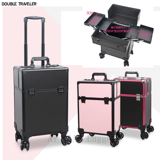 Cosmetic case multi-layer large-capacity Box Nail tattoo Rolling luggage bag makeup case multi-function trolley suitcase travel