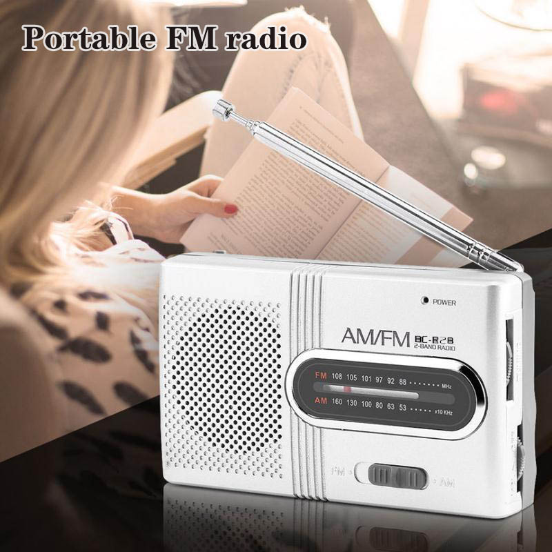 Portable AM/FM Mini Radio with Telescopic Antenna Dual Band Channel Receiver Speaker OUJ99