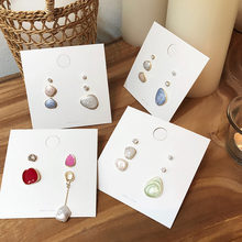 Korean Fashion Candy Color Geometric Irregular Drop Glazed Studs Earrings Set Freshwater Pearl Zircon Ear Trendy Jewelry Gift(China)