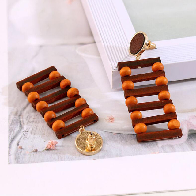 YAOLOGE 2019 New Original Design Funny Wood Long Ladder Beads Rattan Knit Earrings For Women Girl.jpg 640x640 - YAOLOGE 2019 New Original Design Funny Wood Long Ladder Beads Rattan Knit Earrings For Women Girl Party Bar Exaggerate Jewelry