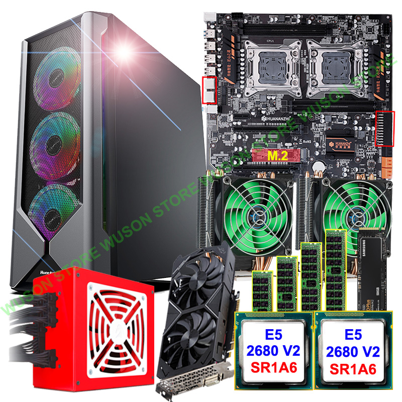 HUANANZHI Dual X79-4D Motherboard Bundle E-ATX PC Case 800W PSU Dual CPU E5 2680 V2 With Coolers RAM 4*16G Video Card GTX1050TI