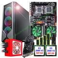 HUANANZHI dual X79-4D motherboard bundle E-ATX PC case 800W PSU dual CPU E5 2680 V2 with coolers RAM 4*16G video card GTX1050TI