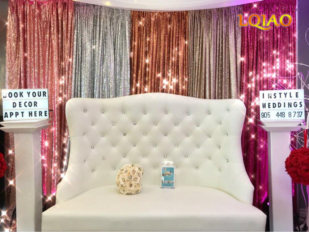 Rose Gold Fuchsia Pink Gold sequin Backdrop 004