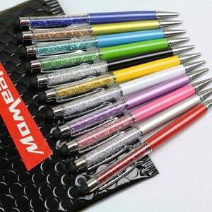 Image 2 - Toptan 20 adet/grup yüksek doku kristal Stylus kalem kapasitif ekran dokunmatik kalem iPhone desteği logo baskı