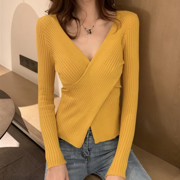 Сексуальный тонкий вязаный свитер с перекрестным v образным