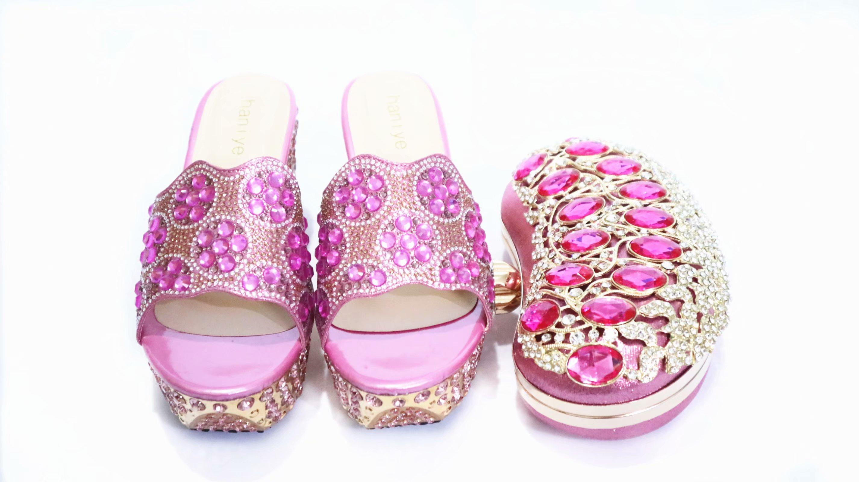 Gratis Verzending Mooie Roze Schoenen Bijpassende Tas Voor Afrikaanse Aso Ebi Shining Big Stenen Slippers Schoenen En Koppelingen Tas SB8475 4 - 3