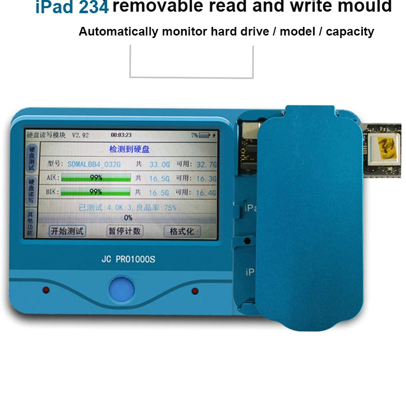 <font><b>JC</b></font> PRO1000S Non-Removal <font><b>NAND</b></font> Programmer SN Removable Read and Write Mould Tool iPad 2 3 4 5 6 Air 1 2 Repair image