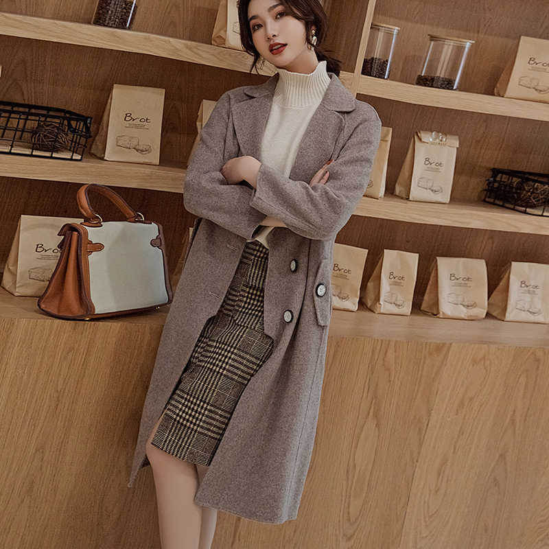 2019 winter new double-sided pure cashmere women's coat long high-end slim solid color wild wool coat