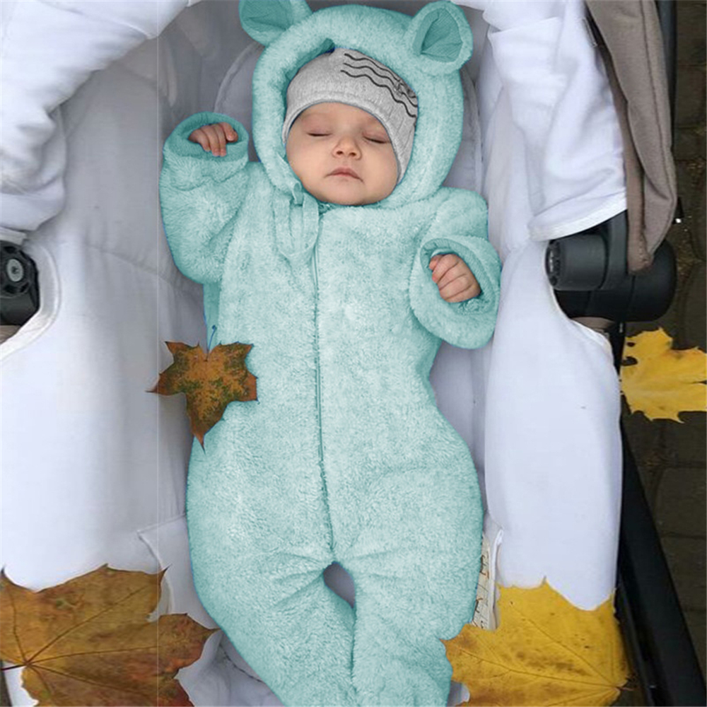 NEW Winter Fall Clothes Outfit Ears Cute Newborn Toddler Baby Boys Girls Romper Spring Autumn Warm Hooded Bear Tops Jumpsuit