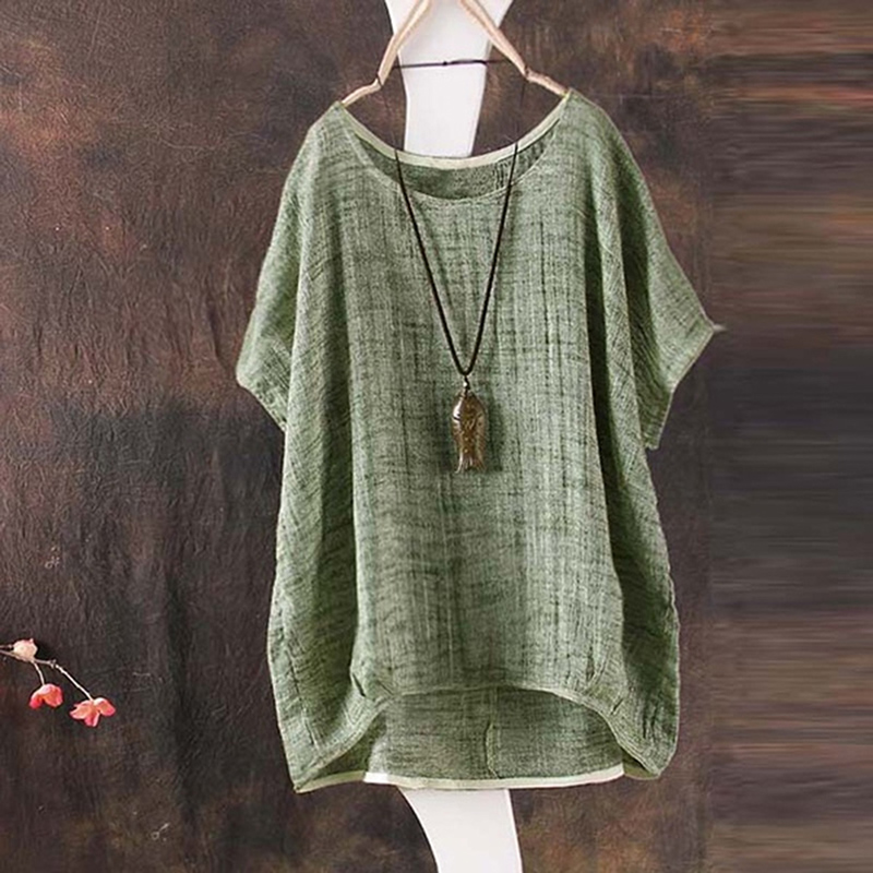 Women Cotton Linen Blouse Summer Hot Sale Casual Solid O Neck Short Sleeve Tops Female Loose Blouse Tops Clothing