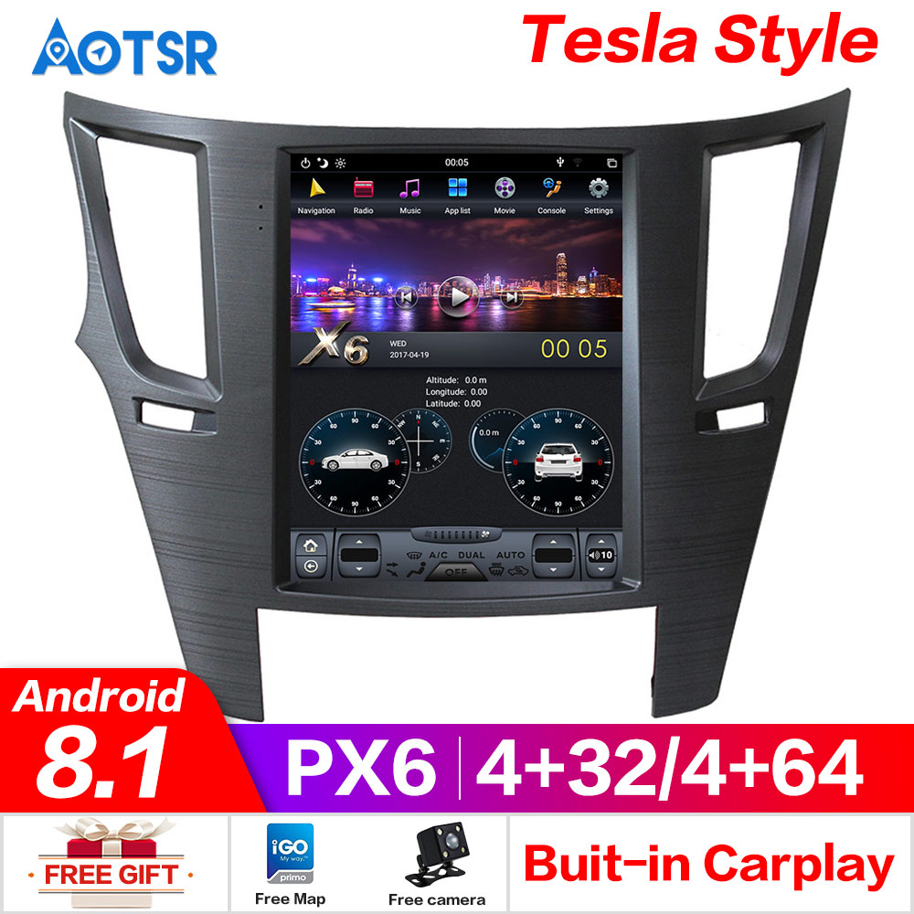 PX6 4GB RAM Tesla Style Android 8.1 Car GPS Navigation For Subaru Legacy Outback 09to14 Head Unit Multimedia Radio Tape Recorder