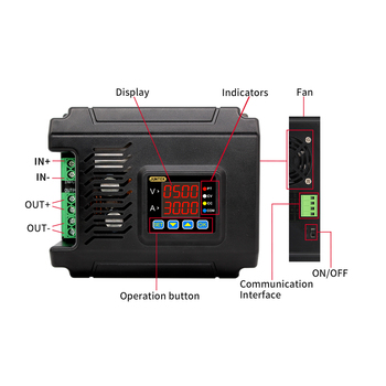 JUNTEK Fuente de alimentación DC-DC  - voltímetro DPM8650-485RF LCD de 2,4 pulgadas, 60V, 8A, 24A, 50A, módulo convertidor de corriente constante 2