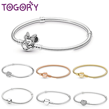 Новые посеребренные очаровательные браслеты с милым Микки-Маусом, змеиная цепочка, подходящие к тонким базовым браслетам для женщин, модные очаровательные бусины, ювелирное изделие своими руками