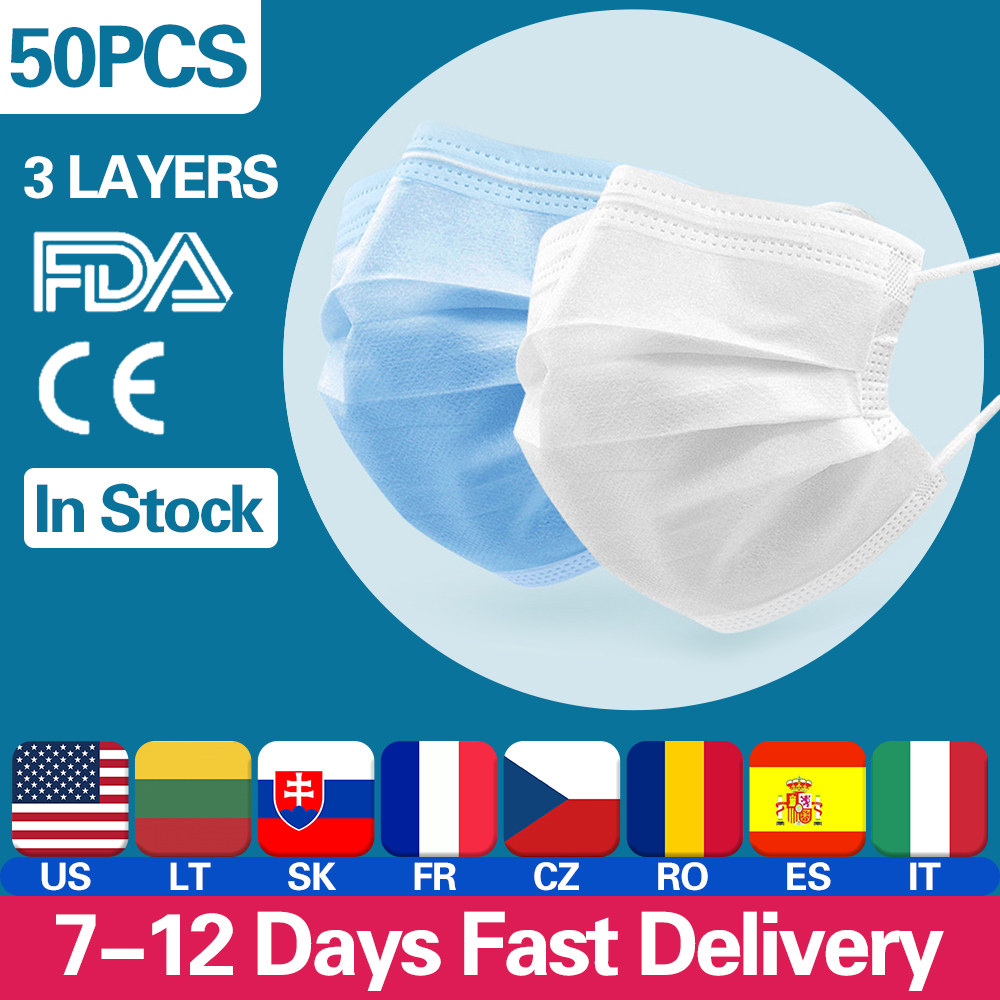 Disposable Mouth Face Mask Anti-Dust 3 Layer Mouth Masks Soft Breathable Anti Influenza Earloops Meltblown Cloth Non-woven Mask