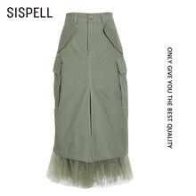 Skirt Patchwork Big-Pocket Autumn High-Waist Fashion SISPELL for Female Elegant Tide
